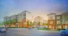 "Proposed Development ""Gather"" Looking NE at Clark and Lincoln in Urbana, IL"